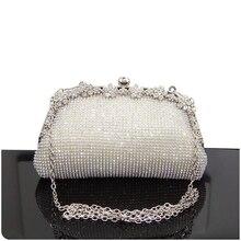 Kadın akşam çanta lüks siyah/gümüş düğün parti omuzdan askili çanta elmas taklidi debriyaj çanta kristal Bling altın el çantası