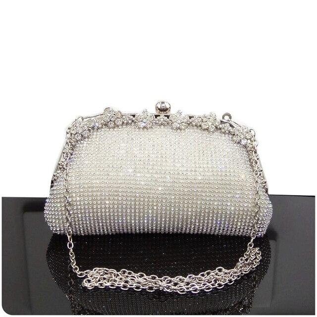 d787a945a Women Evening Bag Luxury Black/Silver Wedding Party shoulder Bag Diamond Rhinestone  Clutches Purse Crystal