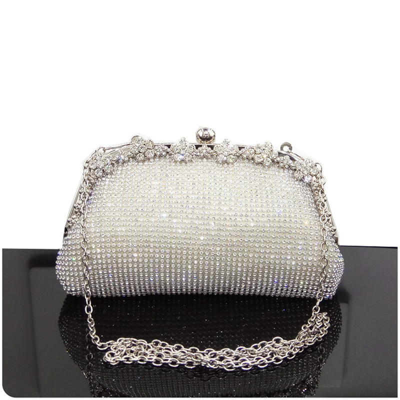 Women Evening Bag Luxury Black/Silver Wedding Party shoulder Bag Diamond Rhinestone Clutches Purse Crystal Bling Gold Clutch Bag title=