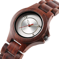Elegant Red Wood Quartz Watch for Lady Light SlimWooden Watchband Fashion Minimalish Design Trendy Women Unique Wrist Watch Gift