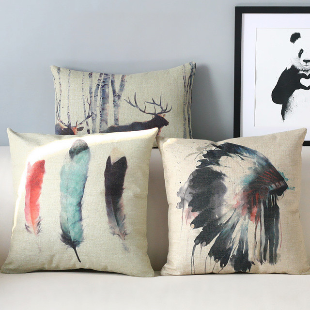 Exotic Watercolor Indian Pillows Feather Pillow Cushion Linen Lumbar Home Decoration Sofa Cushions