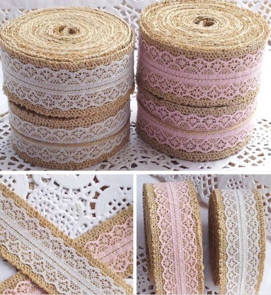 Buy Vintage Burlap Ribbon Home Crafts Jute Lace Wedding Decoration Flower Head
