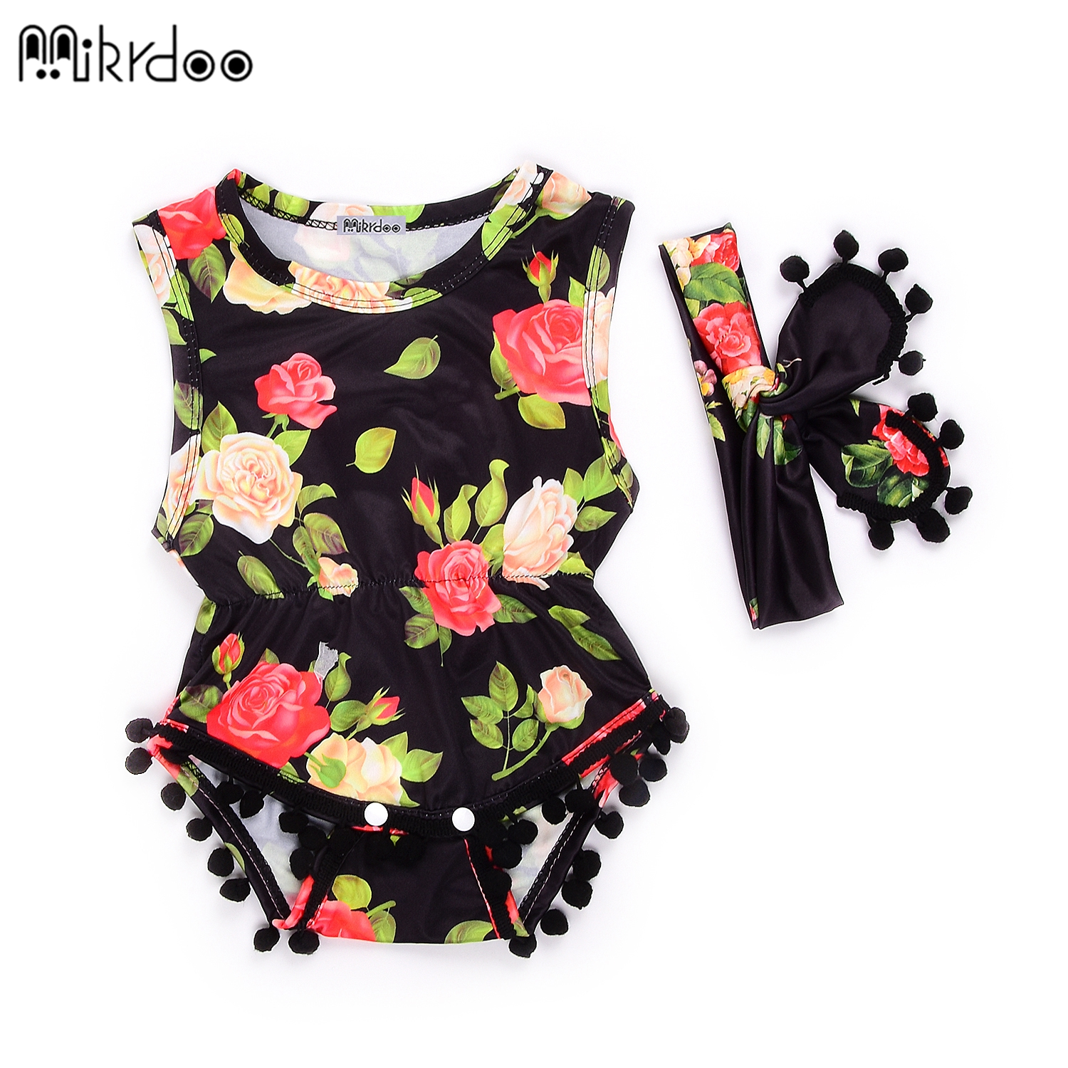 HOT SALE Summer Baby Girl Bodysuit Newborn Baby Clothes flowers Prited vest Cotton Baby Bodysuits Body Bebes Clothing with hea