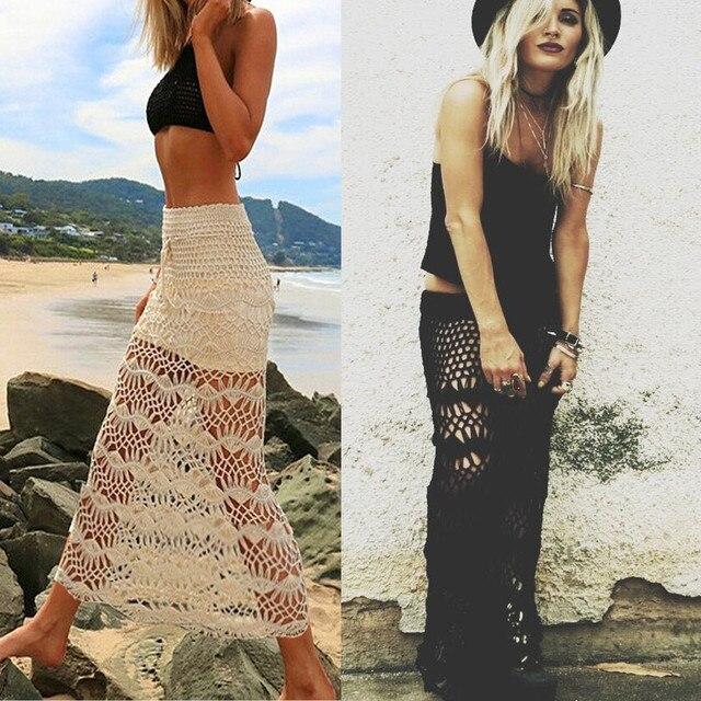 d6a8444fb 2019 New Knitted Hollow Out Lace Beach Dress Women Summer Sexy Crochet High  Waist Bodycon Long