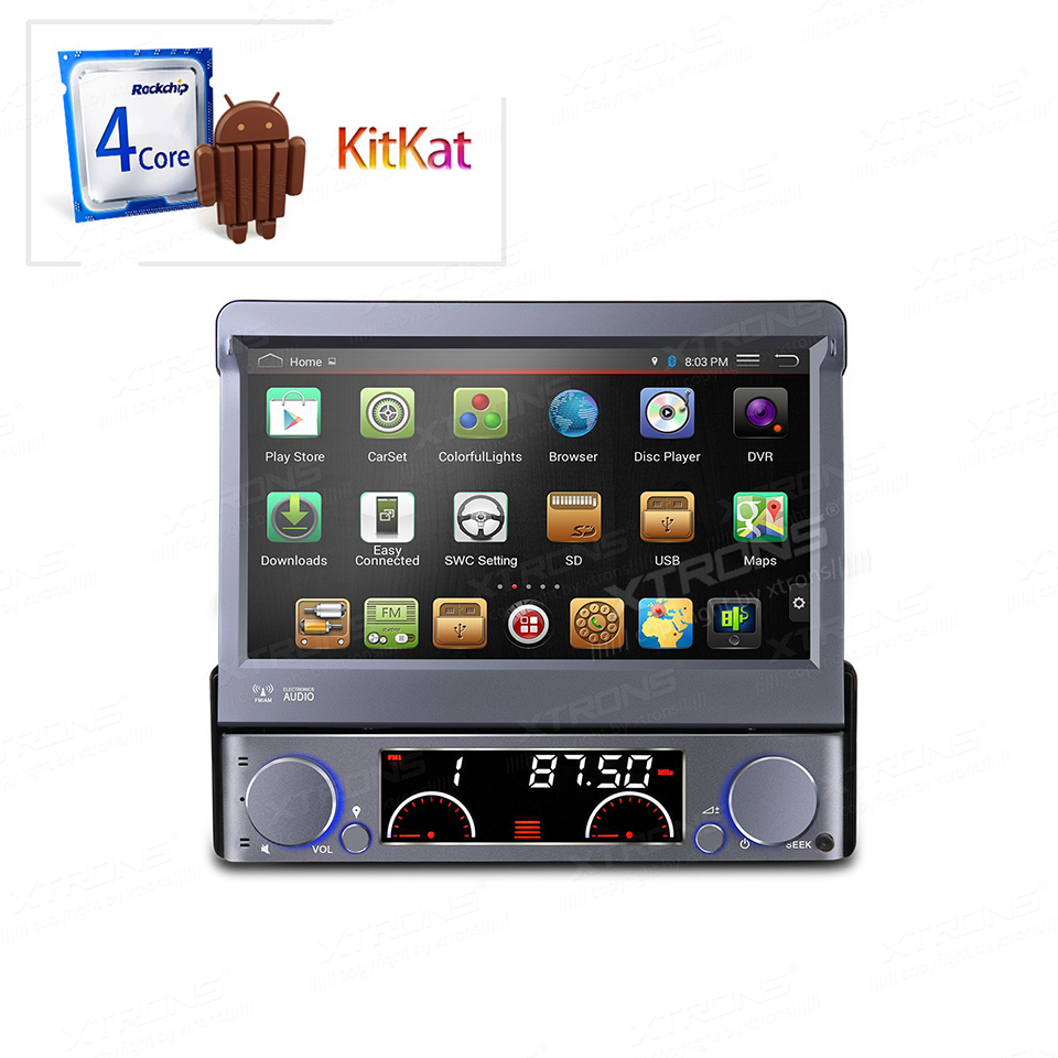 7 quad core android 4 4 4 single 1 din car stereo dvd gps. Black Bedroom Furniture Sets. Home Design Ideas