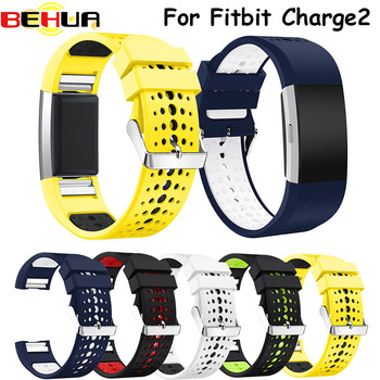 Watch band Silicone double color breathe soft wrist band for Fitbit Charge 2 sports watch strap New replacement bracelet Belt 20mm 22mm 26mm soft silicone sports watch band high quality replacement watch strap classic bracelet wrist band