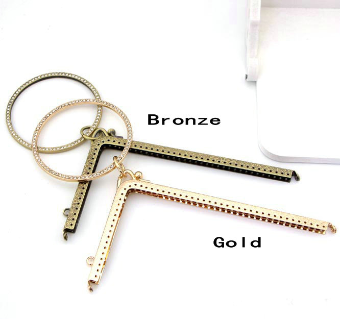 Bag Parts & Accessories New 18.5cm K207.k208 Right Angle L Shape Bracelet Imitation Diamond Studded Metal Purse Frame Diy Handbag,coin Purse 2pcs/lot Lustrous Surface