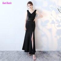 Glamorous Black Long Mermaid Evening Gown 2017 Sexy Formal Evening Dresses V Neck Elastic Satin Custom