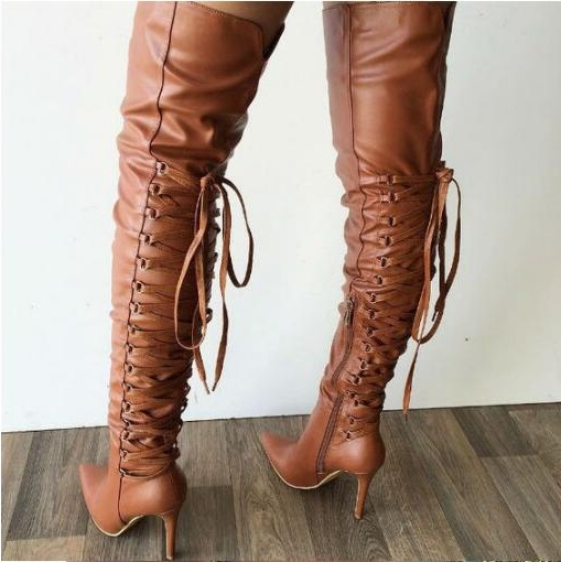 Winter Hot Woman Sexy Solid Black Brown Cheap High Quality Pu Lace Up Back Pointed Toe Thin High Heels Thigh Over The Knee BootsWinter Hot Woman Sexy Solid Black Brown Cheap High Quality Pu Lace Up Back Pointed Toe Thin High Heels Thigh Over The Knee Boots