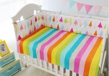Discount! 6/7pcs Flower baby bedding set,Baby Bumper ,Cot Crib Bedding Set ,duvet cover ,120*60/120*70cm