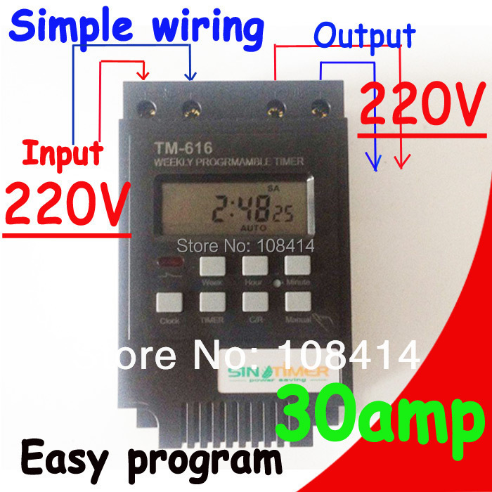 SINOTIMER 30AMP Control Load 7 Days Programmable Digital TIME SWITCH Relay Timer Control 220V Din Rail Mount, FREE SHIPPING intermatic ej500 digital 4 amp astronomic electronic switch 7 day timer 2 pack