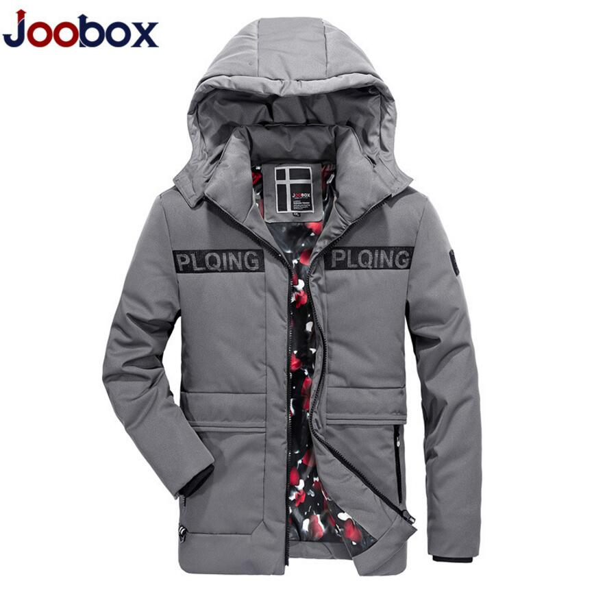 JOOBOX Brand Men Winter Jacket Mens Casual Detachable Hooded Cotton-padded Coat Male Thickening Warm Clothing Black And Gray
