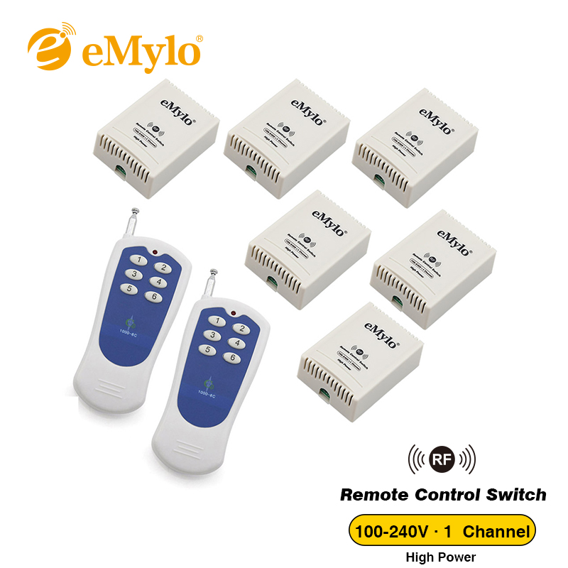 eMylo AC 100-240V 2500W Learning Smart Wireless RF Remote Control Switch For Light White&Blue 2 Transmitter 6X 1 Channel Relays