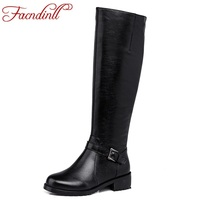 FACNDINLL Hand Made Full Leather Winter Boots Warm Snow Riding Boots Knee High Boots For Women