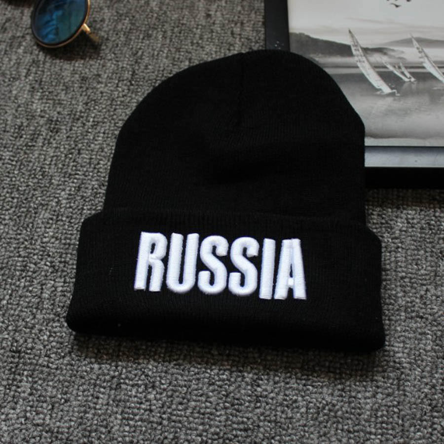 Letters RUSSIA Womens Men   Beanie   Hats Hip Hop Spring Head Knitted Hats For Girls Bone Masculino Feminino Casquette Femme Ice Cap