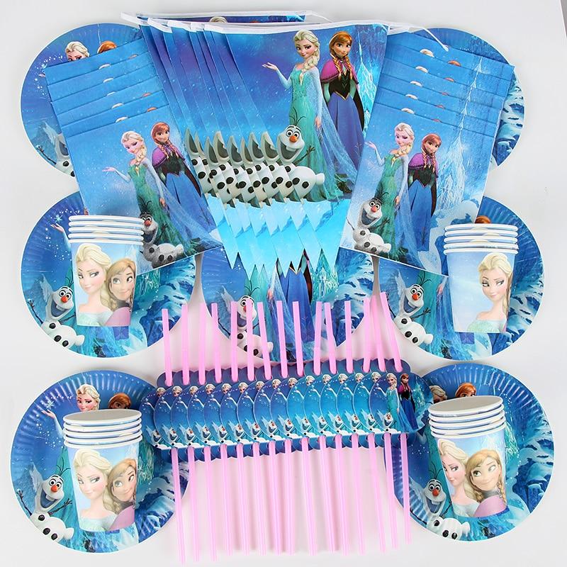 90pcs Suitable For 20 People Frozen Party Anna Elsa Princess Tableware Set Total Children Birthday Party Supplies Decorations