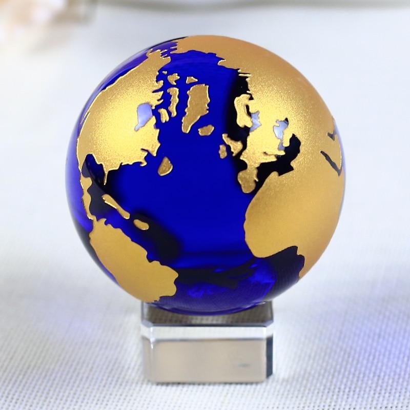 60mm Mavi Renkli Toprak Kristal Modeli Topu Cam Küre Ile bir Baz El - Ev Dekoru - Fotoğraf 3