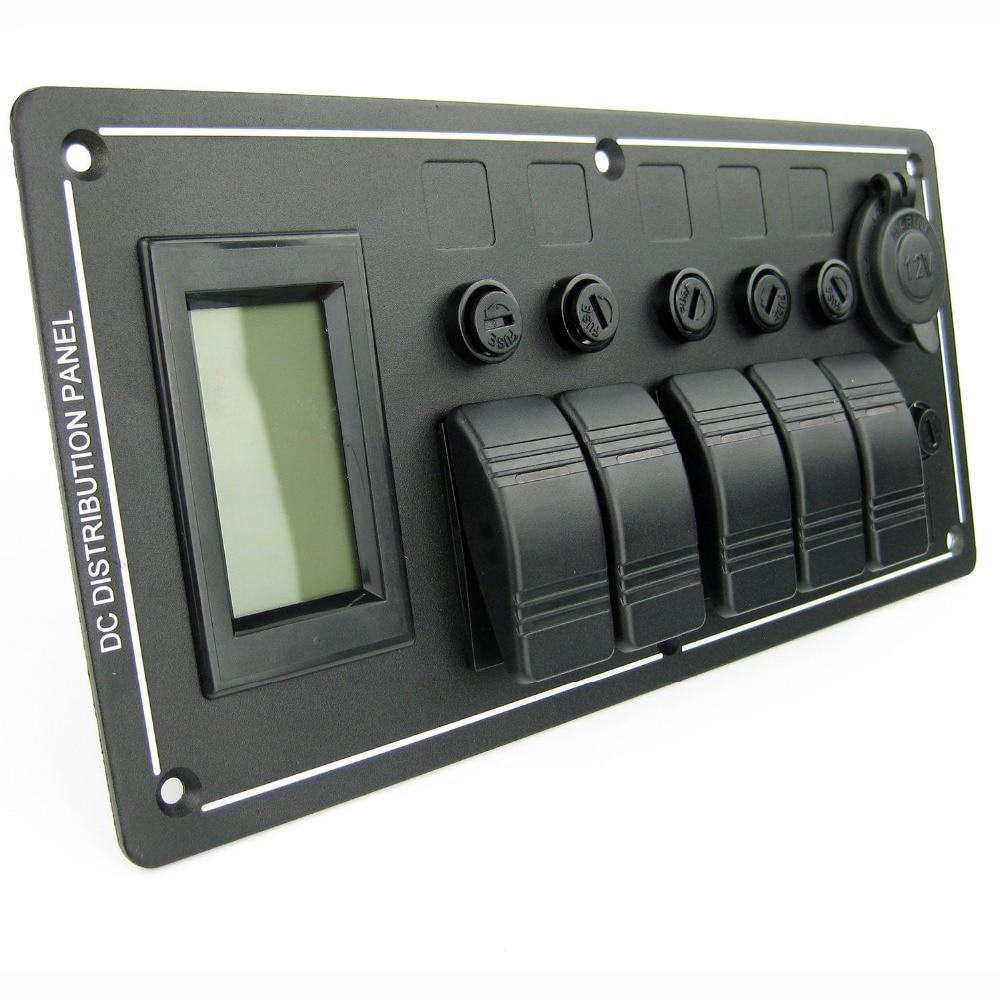 Marine Boat Rocker Switch Panel Voltmeter W/ Power Socket Car RV 5 Gang Aluminum