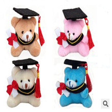 20pcs/lot free shipping 7cm Plush graduation Bear keychain Student Festival gifts party gifts wholesale