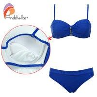 Andzhelika Swimsuit Women New Beach Bikini Sexy Low Waist Swimwear Dot Metal Bikini Set Padded Brazilian