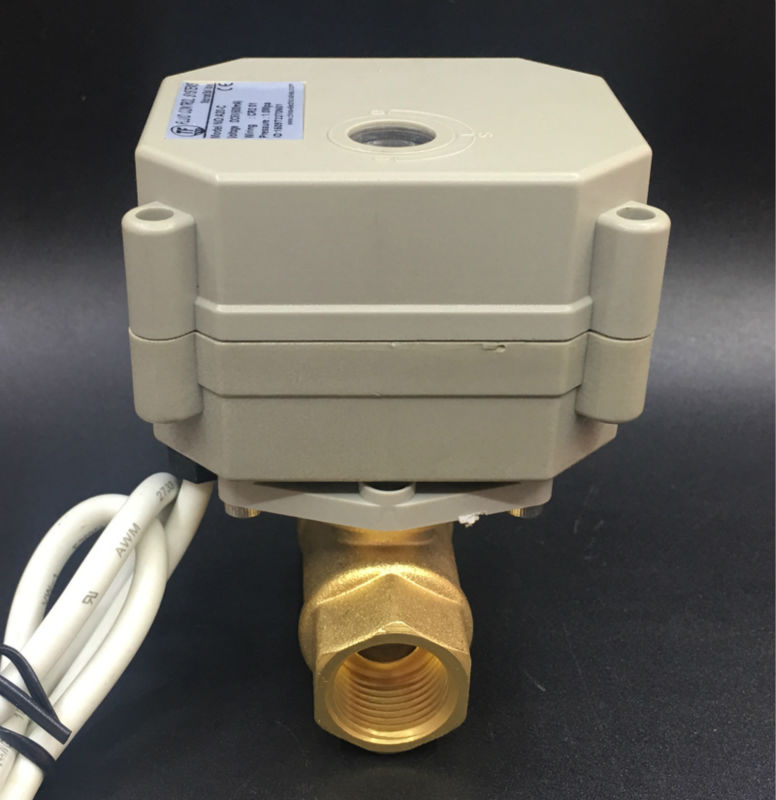 TF10-B2-C, AC/DC9-24V 3 Wires 2 Way Brass 3/8'' (DN10) Electric Motorized Valve Metal Gear On/Off 5 Sec For Water Application