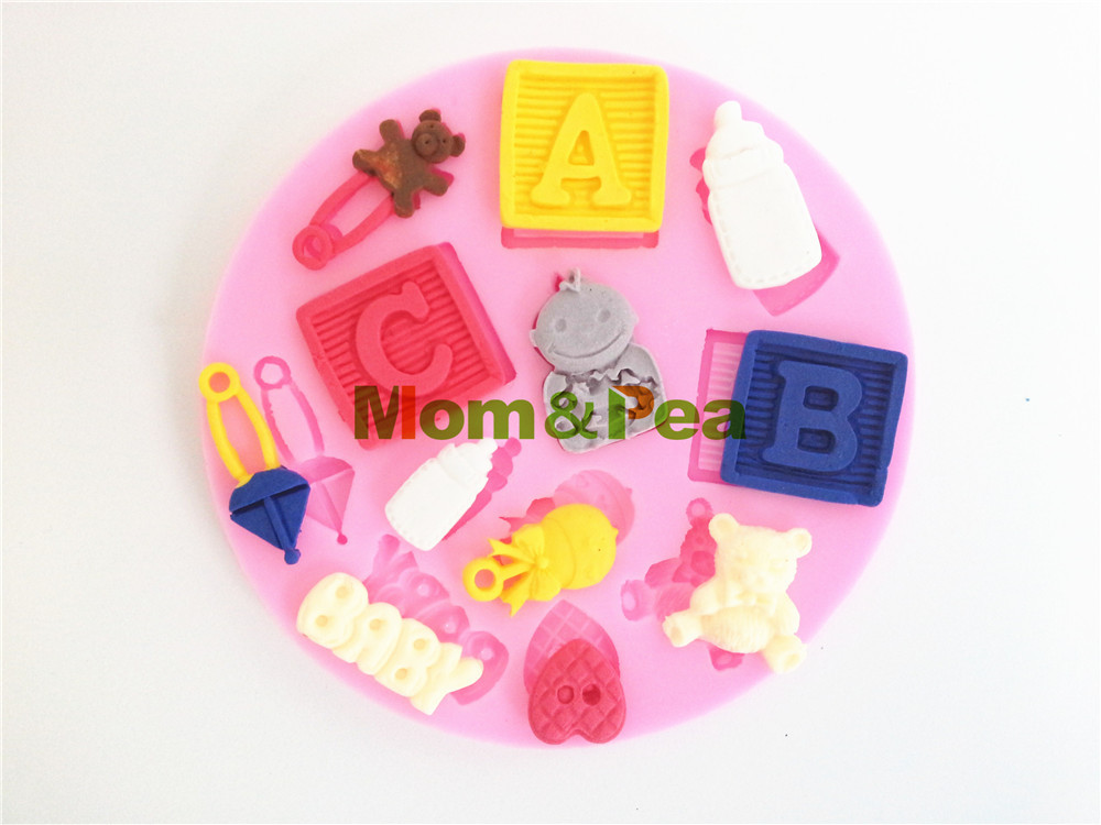 Mom pea 0387 free shipping abc silicone soap mold cake for Abc cake decoration