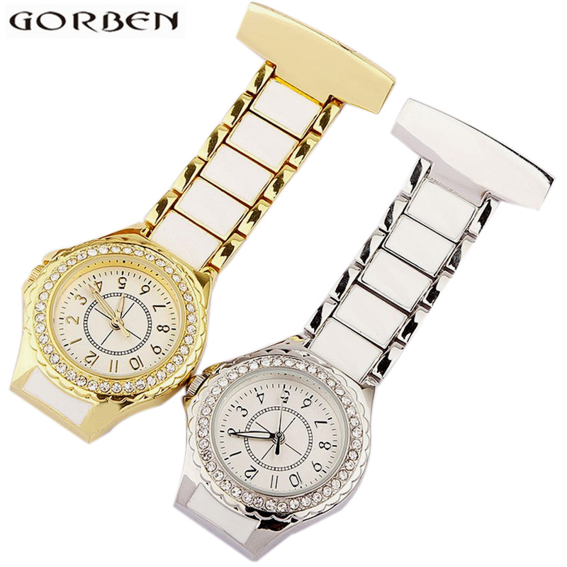 Paramedic Medical Clip-on Brooch Pin Hanging Fob Nurses Watches Gold Silver Stainless Steel Pocket Clock Women Doctors' Gifts luxury crystal golden silver stainless steel nurses pin fob watch clip on hanging brooch round pocket watch men women relogio
