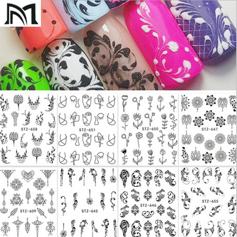 3pcs Nail Watermarking Posted/Abstract Art Nails Water Sticker Black Simple DIY Decoration Stickers Tools