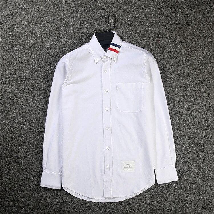 New 2019 Men Oxford Classic Striped Fashion Cotton Casual Shirts Shirt High Quality Pocket Long-sleeves Top M 2XL #AB40