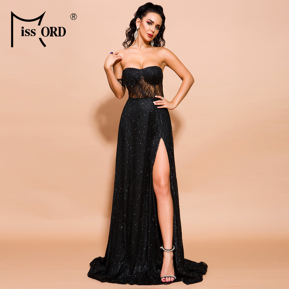 Missord 2020 Women Sexy Off Shoulder Glitter Dresses Female High Split Maxi Elegant Backless  Dress  FT19526