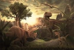Jurajski dinozaur las drzewa tło tkanina winylowa wysokiej jakości wydruku komputerowego urodziny