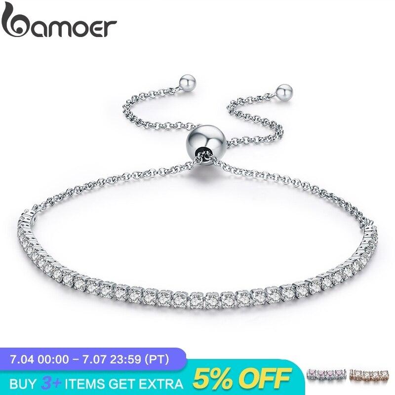 BAMOER Featured Brand DEALS 925 Sterling Silver Sparkling Strand Bracelet Women Link Tennis Bracelet Silver Jewelry SCB029 invisible bra