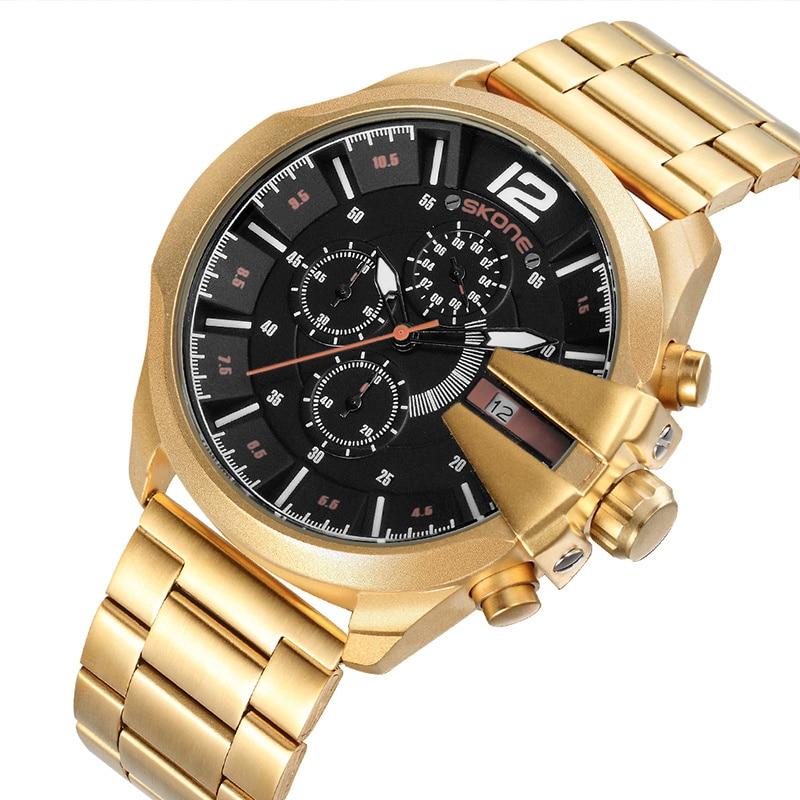 Skone Luxury Brand Men's Watches Gold Black Stainless Steel Chronograph Quartz Clock Male Famous Design Business Watch Man