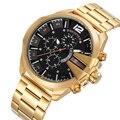 Skone Luxus Marke männer Uhren Gold Schwarz Edelstahl Chronograph Quarz Uhr Männliche Berühmte Design Business Uhr Mann