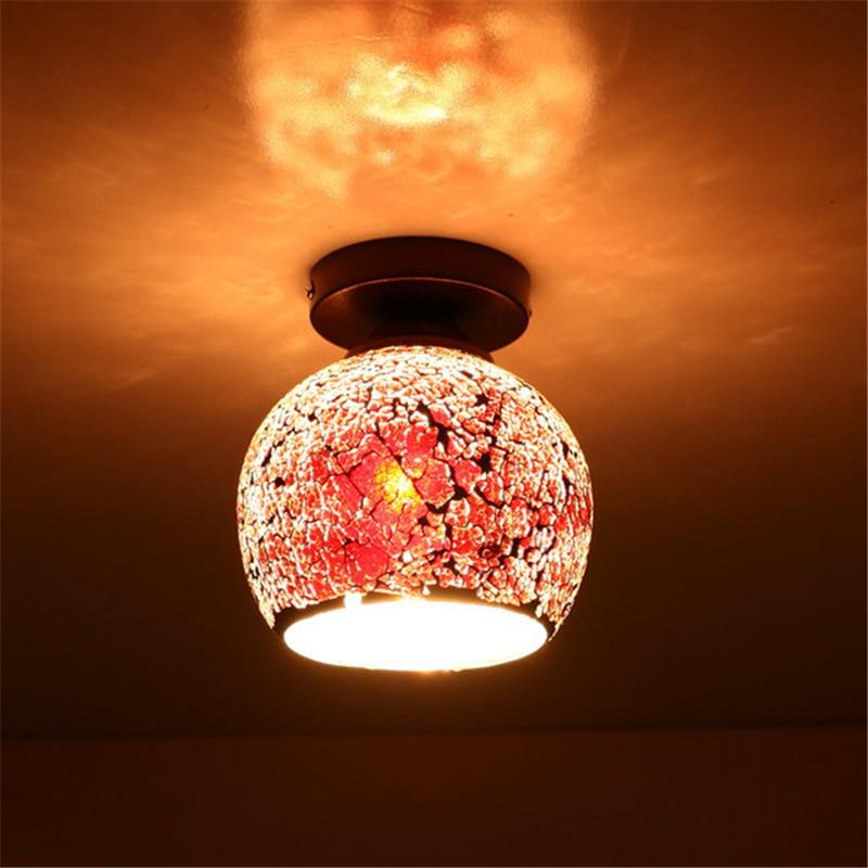 Retro Mosaic E27 Ceiling lamp minimalist Creative iron glass light for living room luminaire Restaurant Bar Coffee Shop