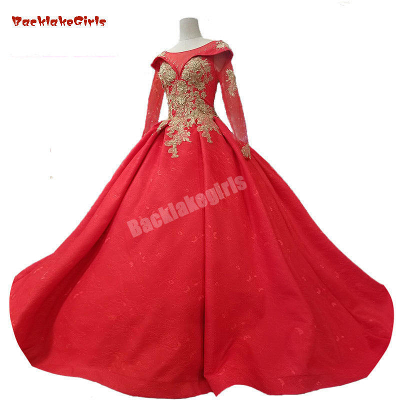 2018 New Arrival  Long Sleeves Red Satin Lace Evening Dress Scoop Court Train Ball Gown Empire  Prom Dresses Vestido De Festa