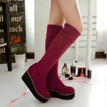 New Fall fashion elastic knee boots Female platform boots Large size shoes women Motorcycle boots Black Blue Red