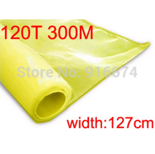 Free shipping 1 meter 120T 300M yellow color polyester silk screen printing mesh 120T 127CM width asm 120t 2