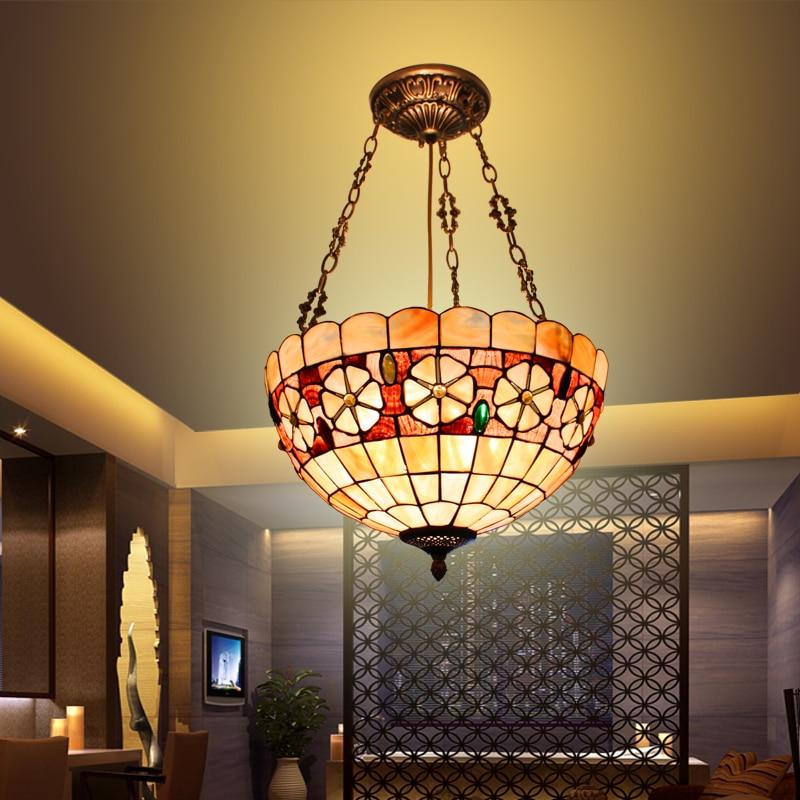 Europeo Mediterráneo tiffany retro colgante luz dormitorio estudio hogar jardín restaurante lámpara-in Luces colgantes from Luces e iluminación
