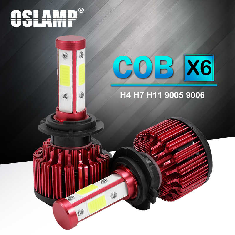 Oslamp 100W LED H4 Hi Lo Beam H7 H11 9005 9006 5202 Car LED Headlight Bulbs 4 Sides COB Chips 10000lm Auto Lamp LED Light 12V