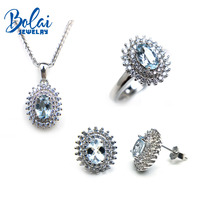 Bolaijewelry,natural aquamarine pendant or necklace and ring and earring jewelry set 925 sterling silver for women sweet gift