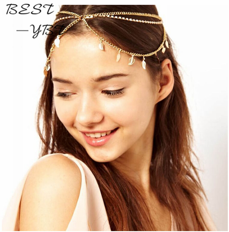 River Island Leaf and Cup Chain Stretch Head band Crystal Headband Multilayer Hair Acessories Headwear Women Hair Jewelry