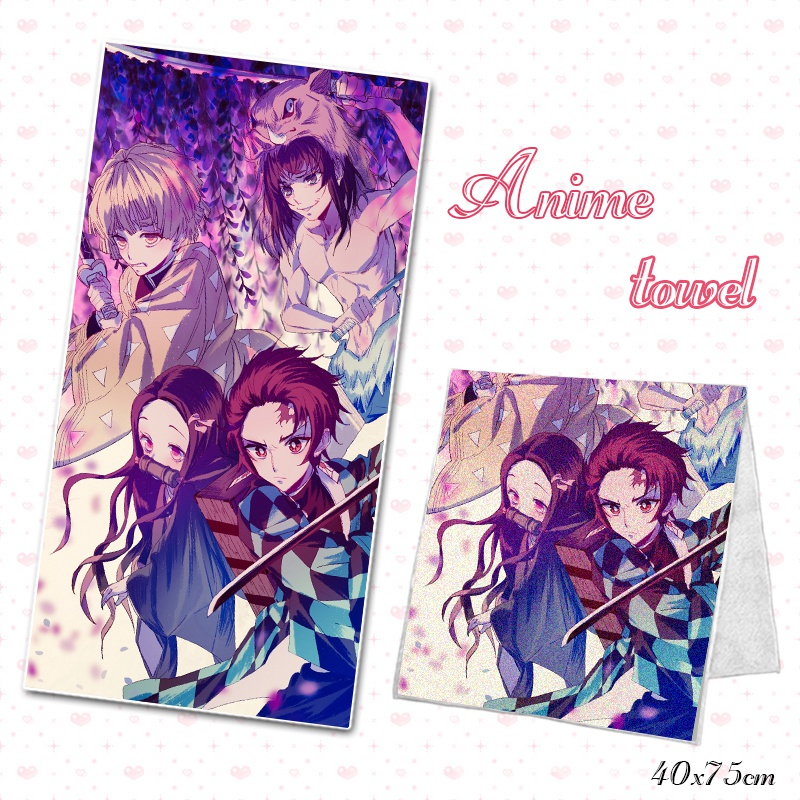 Anime Bath Towel Bath Demon Slayer Kimetsu No Yaiba DIY Custom Made Bathroom Beach Microfiber Towels Facecloth Washcloth 75x40cm