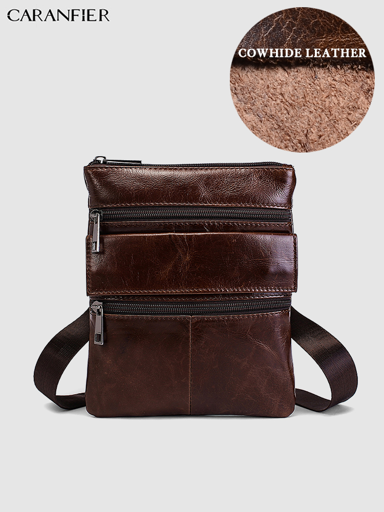CARANFIER Mens Travel Bags Genuine Cowhide Leather Casual Shoulder Crossbody Bags Vintage Zipper Small Business Messenger Bags