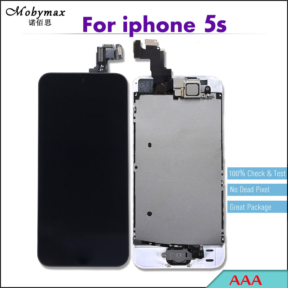 5PCS AAA quality LCD display For iPhone 5s Full Assembly Touch Screen Digitizer Display Set+Home Button+Front Camera for iphone