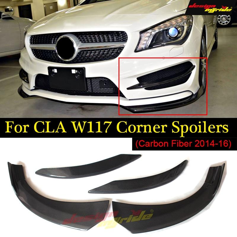 Carbon fiber front bumper lip spoiler splitter cup spoiler flaps for Mercedes-benz CLA W117 C117 CLA250 CLA45 AMG style 2014-16 for mercedes cla w117 carbon spoiler fd style carbon fiber rear wing spoiler with red line cla class w117 amg spoiler 2013 up