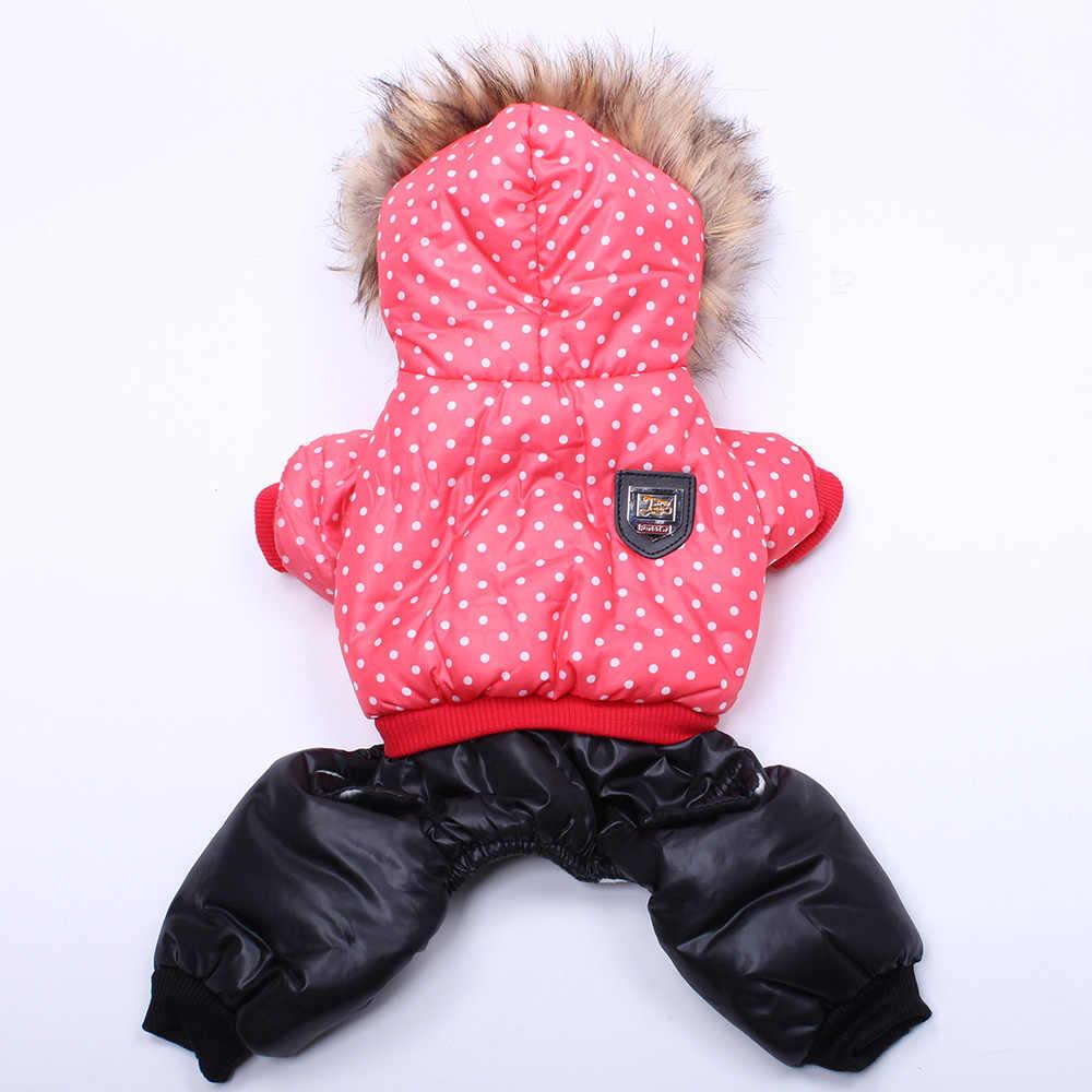 Теплое пальто для собак и кошек куртка в горошек домашних питомцев щенков теплые
