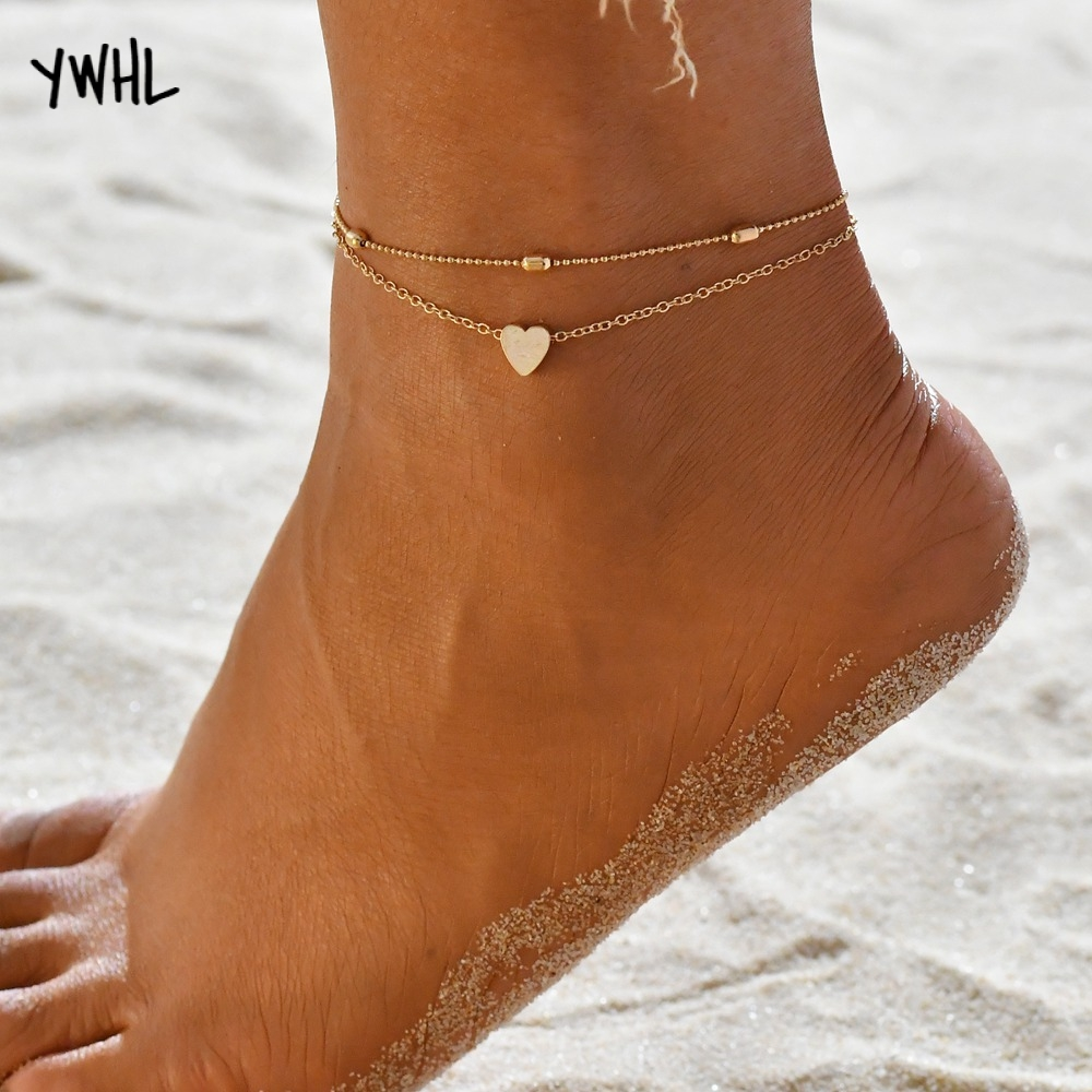 Stylish summer beach two-layered heart-shaped anklet, boho bohemian ladies bracelet gold silver gift