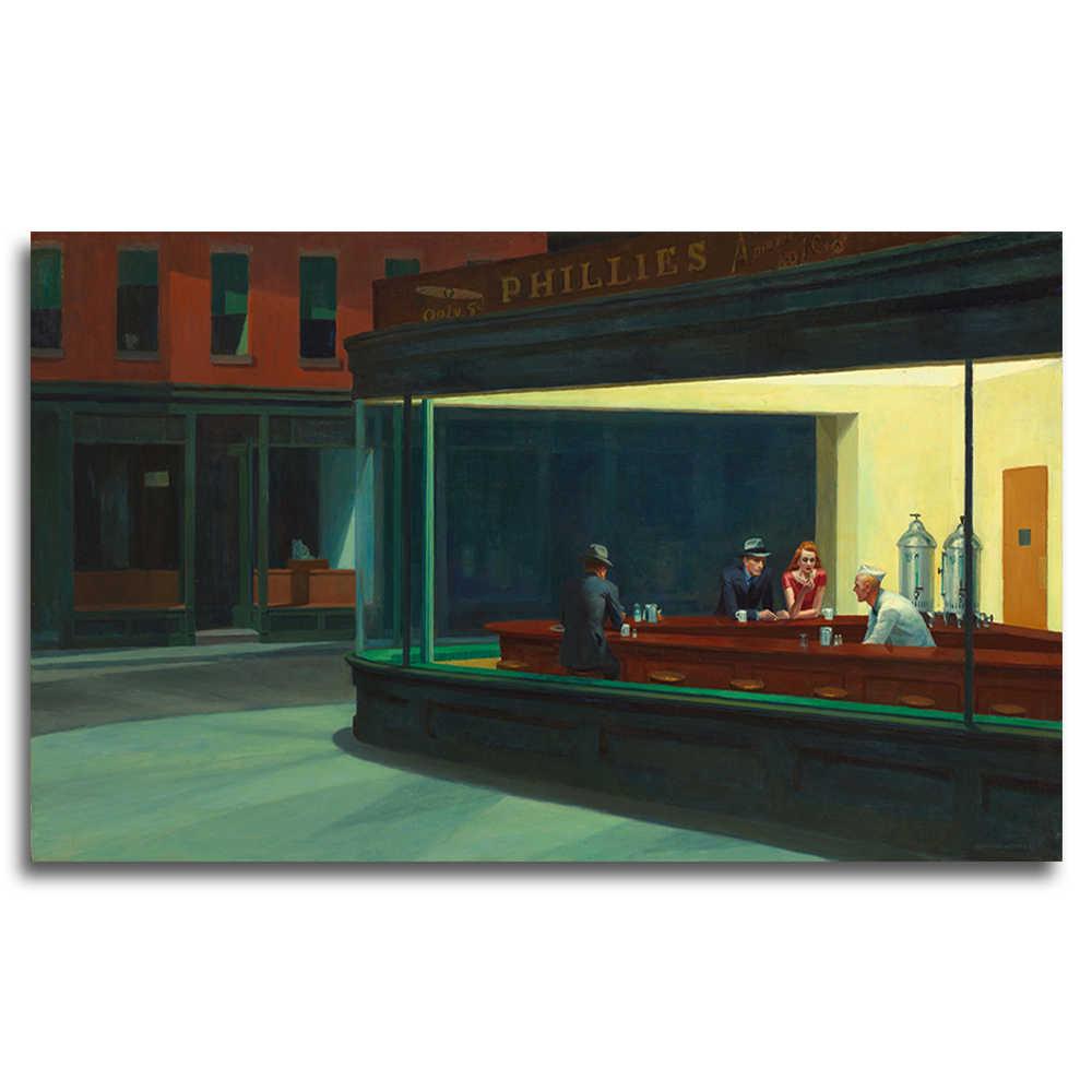 a0416f05bd267 Edward hopper 1 panel nighthawk calle tranquila clásico pintura cartel de  pared de lona impresión hogar