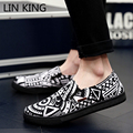 LIN KING Lazy Loafers Spring Men Shoes Breathable Canvas Low Top Shoes Platform Flats Slip On Casual Short Chaussure Hombre